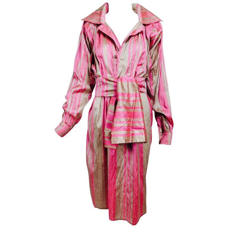 Vintage raw silk pink/bone shift dress with wide waist wrap 1970s For Sale