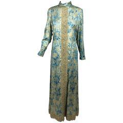 Vintage Lisa Meril beaded blue & gold metallic brocade maxi dress 1960s 18