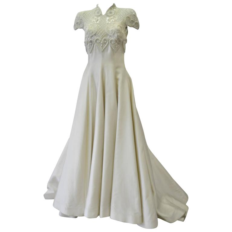 Important Pino Lancetti Hand Embroidered Duchess Satin Wedding Gown For Sale