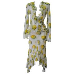John Galliano for Christian Dior Citrus Print Sheer Silk Ensemble