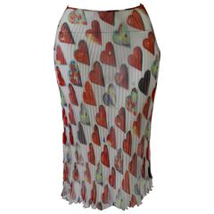 Gianni Versace Couture Sheer Heart Print Plisse Silk Skirt