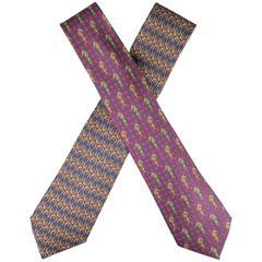HERMES Chevron Horseshoe & Checkered Knight Silk Tie Set