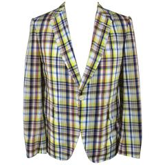JUNYA WATANABE 40 Yellow & Navy Plaid Nylon Sport Coat