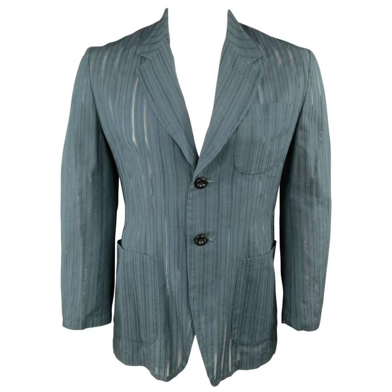 MATSUDA Men's 40 Teal Cotton / Silk Burnout Striped Sport Coat