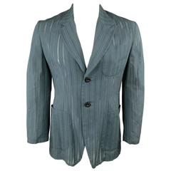 MATSUDA Men's 40 Teal Cotton / Silk Burnout Striped Sport Coat