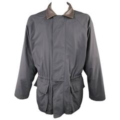 LORO PIANA 44 Black Nylon Brown Leather Collar 'Horsey' Drawstring Jacket