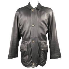 LORO PIANA Jacket 44 Black Leather Waist Cashmere Lining 'Horsey' Coat