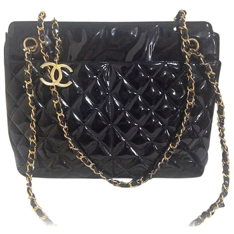 Vintage CHANEL black patent enamel quilted leather large shoulder tote bag