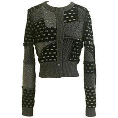 Oscar de la Renta Black and White Cashmere Patchwork Cardigan Sweater