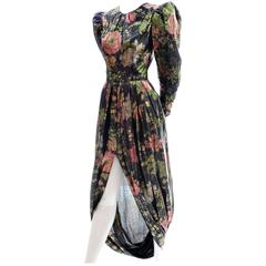 Arnold Scaasi Metallic Floral Vintage Dress Front Slit Evening Semi Bubble Hem