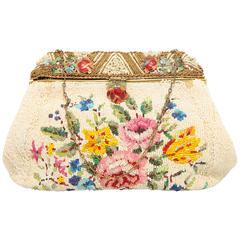 1920s fully beaded bag with floral pattern enamel handle with small pearls