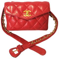 Vintage CHANEL lipstick red leather waist bag, fanny pack with golden chain belt