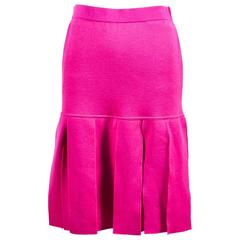Vintage Chanel Boutique Magenta Pink Wool Knit Pleated Knee Length Skirt SZ 40
