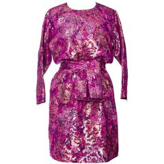 1980s Yves Saint Laurent Brocade Dress