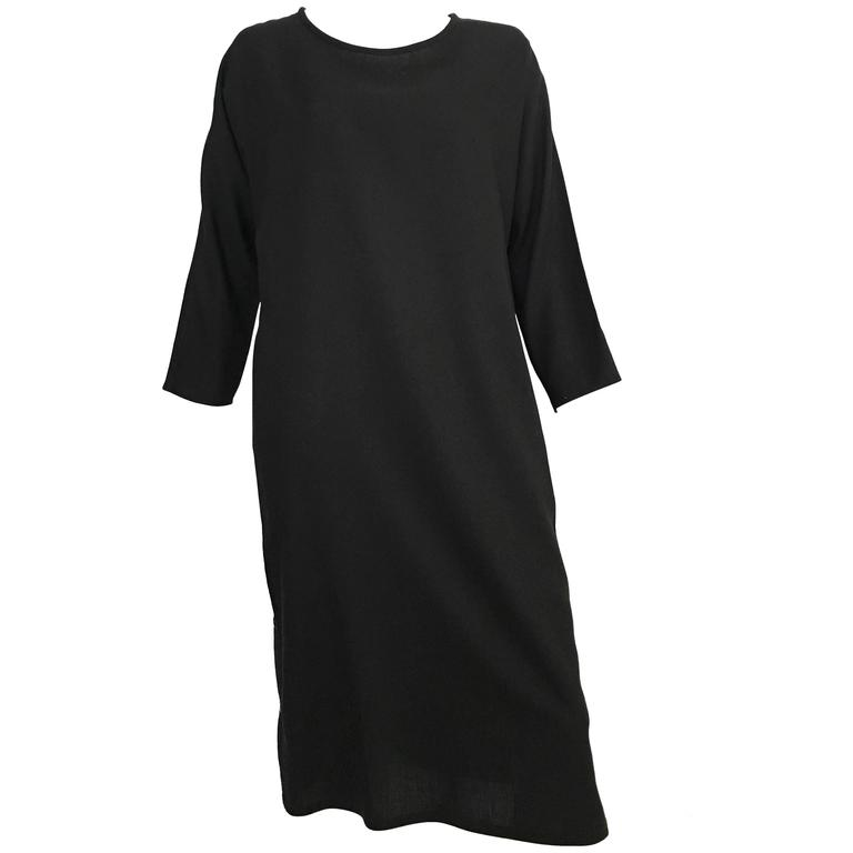 Geoffrey Beene Black Linen Dress With Pockets Size 12. 1