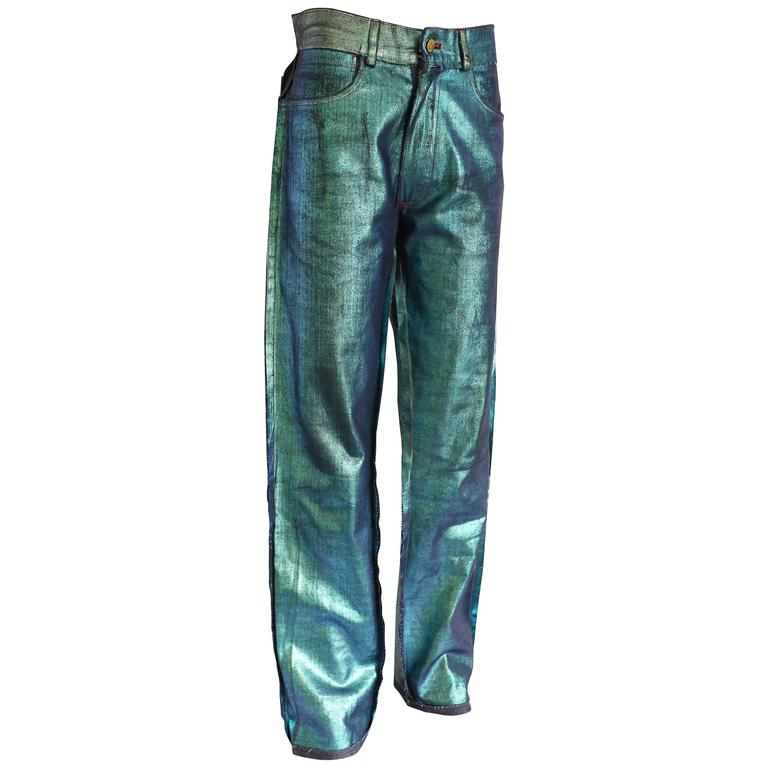 Vivienne Westwood unisex deconstructed metallic painted jeans, c. 1990s