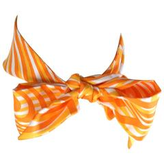 Hermes Orange and Yellow Stripe Twilly Scarf