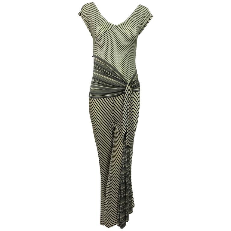 Vintage JIKI Monte Carlo Body con striped asymmetrical hem jumpsuit 1980s 1