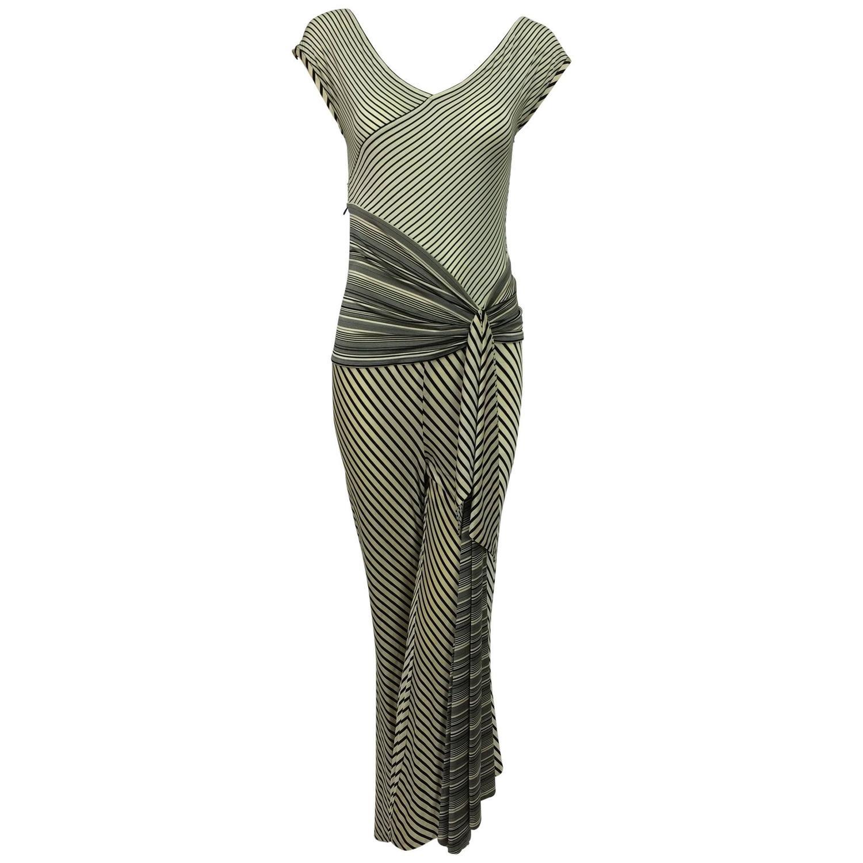 Vintage JIKI Monte Carlo Body con striped asymmetrical hem jumpsuit ...