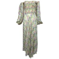 Vintage Judy Hornby London floral chiffon shirred bodice dress 1970s