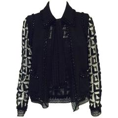 Chanel 2009 Cruise Black Wool Tweed & Metallic Lace Twinset w 3-D Beadwork