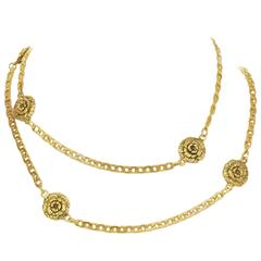 Chanel Vintage '83 Gold Camelia Pendant Chain Link Belt/Necklace
