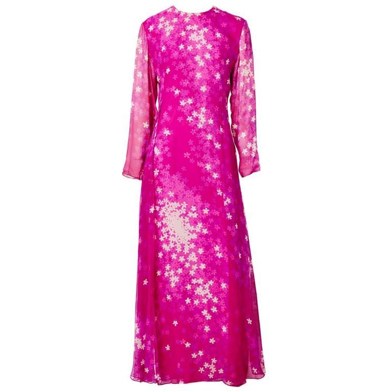 Hanae Mori Floral Print Chiffon Gown For Sale