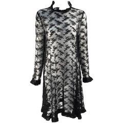 Black Chantilly Lace Custom Vintage Knee Length Dress, 1960s