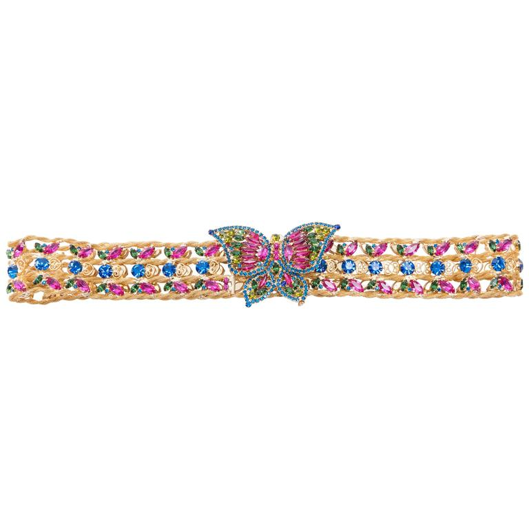 Kenneth Jay Lane Butterfly Buckle Jeweled Belt, Circa 1960's For Sale