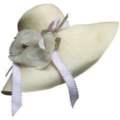 Saks Fifth Avenue Romantic Raffia Hat by Adolfo ca 1970s