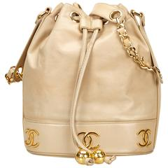 Chanel Beige Lambskin Leather Shoulder Bag