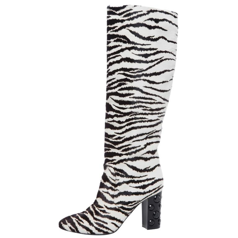 fc2bc5e5f Lanvin Zebra Print Boots With Embellished Heels, Pre - Fall 2010 For Sale