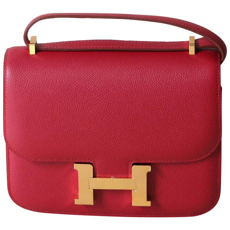 HERMES Constance Mini Epsom Rubis 18' For Sale