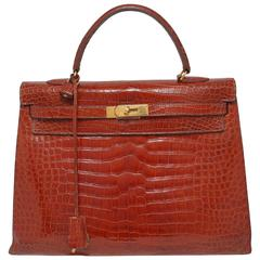 A Hermes crocodile Kelly bag 35inch   year 1993,