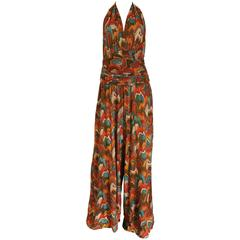 Wide leg halter neck jumpsuit, c. 1970s