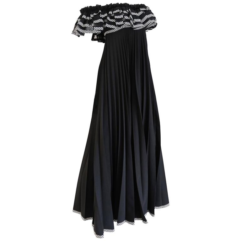 Jean Varon off the shoulder pleated empire evening gown, c. 1970s 1