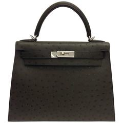 Hermes Kelly 28 Vert Olive Ostrich PHW