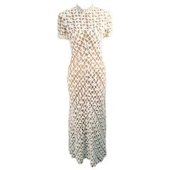 1970s Pat Sandler for Neiman Marcus Cotton Lace Dress Gown