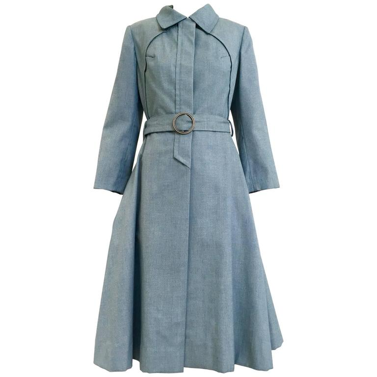 1970s Donald Brooks light blue cotton trench coat For Sale