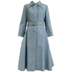 1970s Donald Brooks light blue cotton trench coat