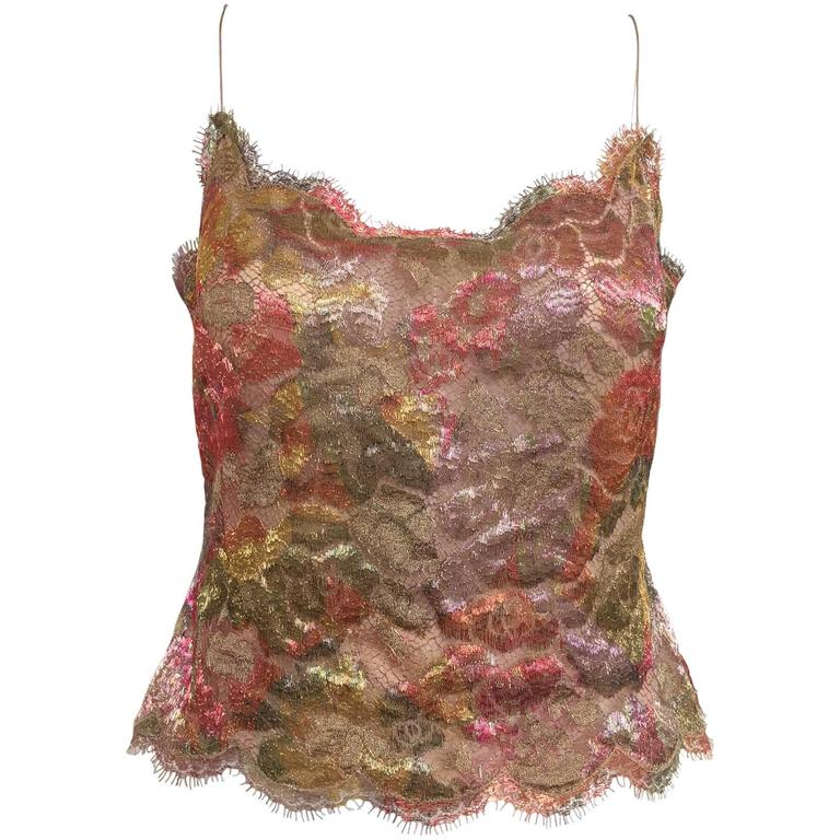 80s Bill Blass metallic lace camisole top For Sale