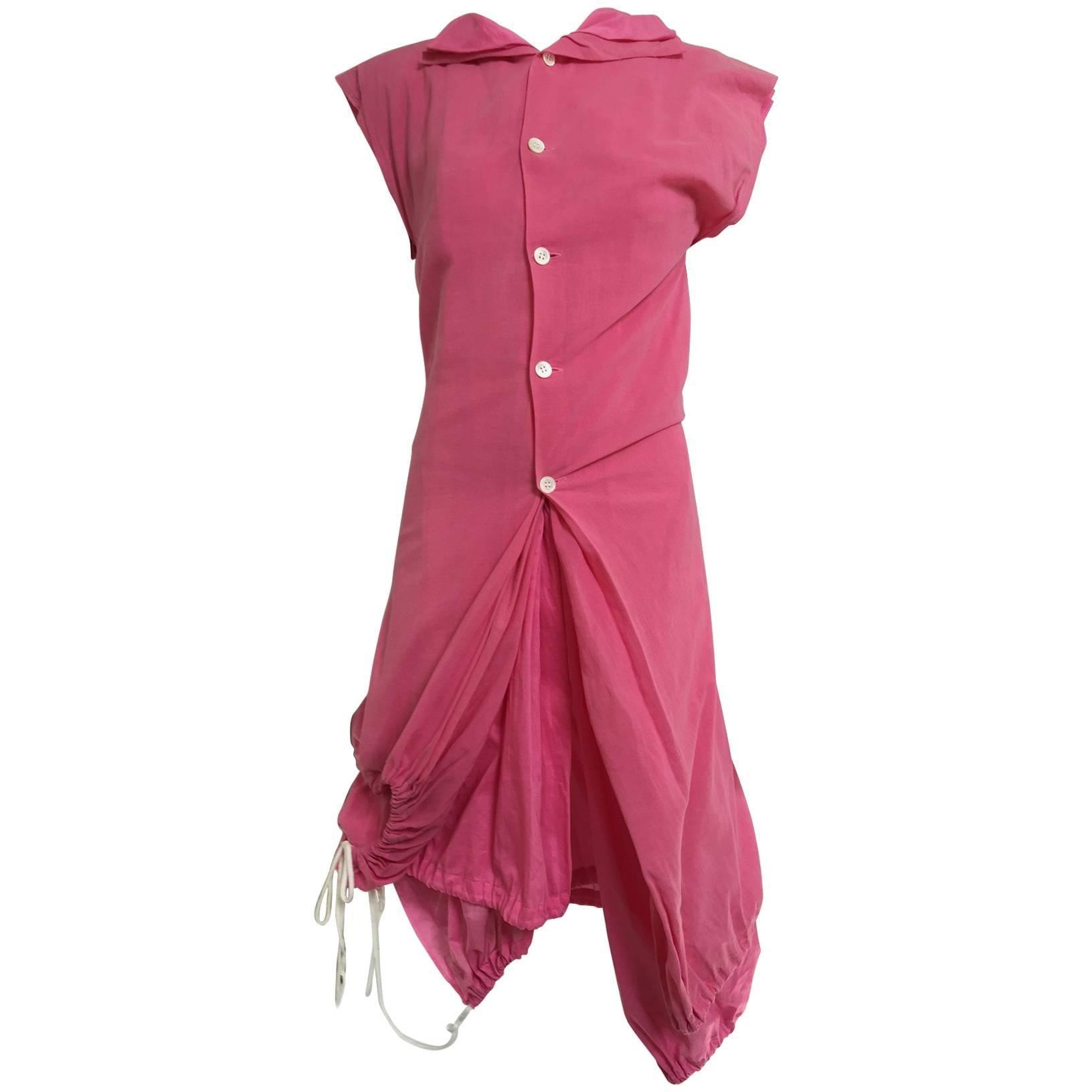 2007 Comme Des Garcons buble gum pink cotton double layer shirt dress