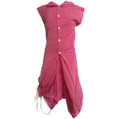 2007 Comme Des Garcons buble gum pink cotton double layer shirt dress
