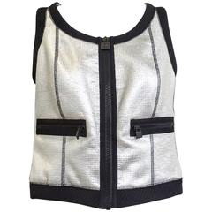 90S CHANEL silver and black vest top