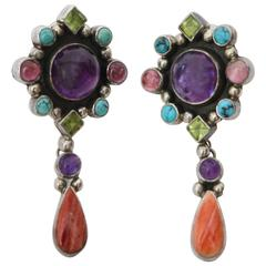 Pair of Coral, Amethyst, Turquoise,Citrine and Sterling Silver Earrings