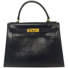 Vintage Hermes Kelly Sellier 28 Black Lizard GHW