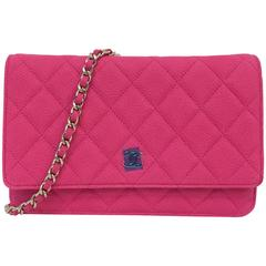 Chanel Pink Matte Caviar Wallet on a Chain Bag Serial No. 18089855