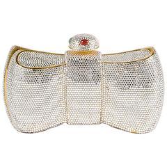Judith Leiber Gold Tone Crystal Embellished Bow Minaudiere Shoulder Bag