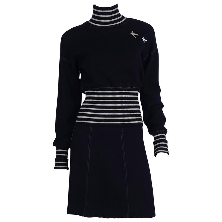 Chanel 2008C Navy/White Casual Knit Pullover & Skirt w/Chanel Airplanes  FR38/40 1