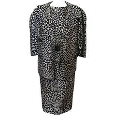 Galanos Black and White Giraffe Print Sleeveless Dress with Matching Jacket